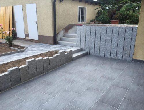 Terrasse, Wegebau, Granitstelen, Treppenbau