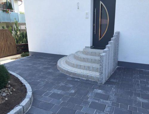 Pflasterarbeiten, Granitstelen, Treppenaufgang in Segmentbögen
