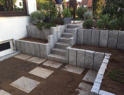 Granitstelen, Treppenaufgang